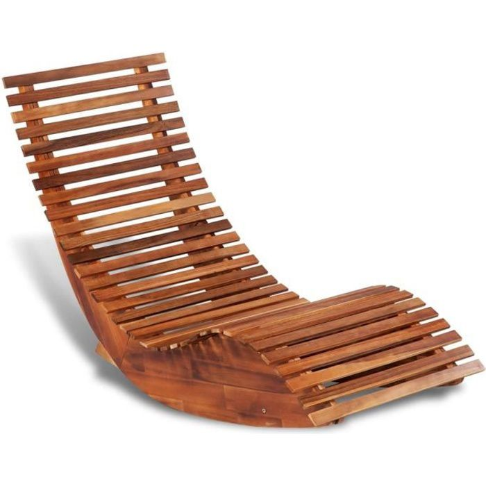 FUDANY🎈-Chaise longue basculante Bois d'acacia