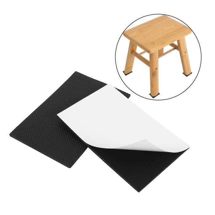 2pcs protecteur de plancher meubles canapé table chaise caoutchouc pieds tampons anti-dérapant auto-adhésif Noir