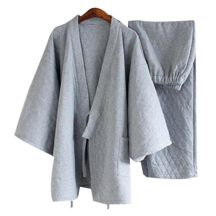 Pyjamas de Coton Pyjama de Survêtement de Chandail Pyjamas de Kimono Pour Hommes, Gris Clair