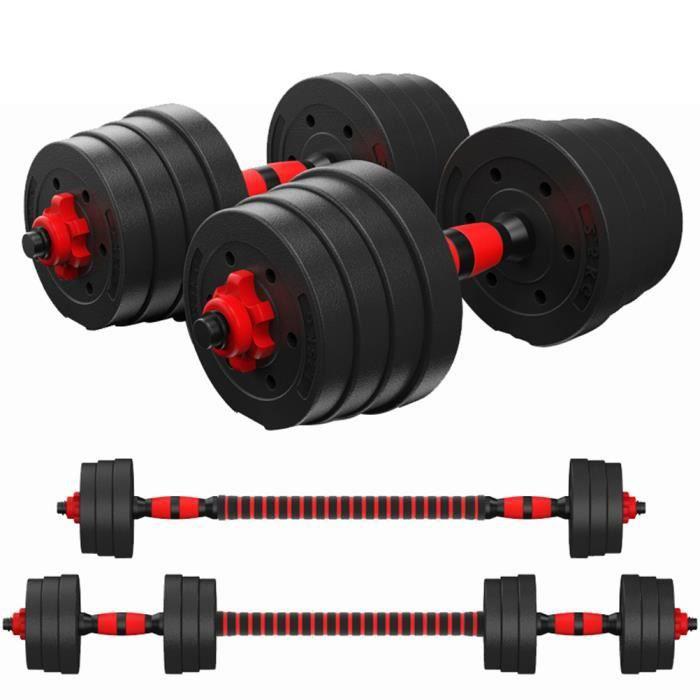 Kit Haltères de Musculation Poids Ajustable 20KG 2 en 1 Haltère Confortable pour Hommes-Femmes