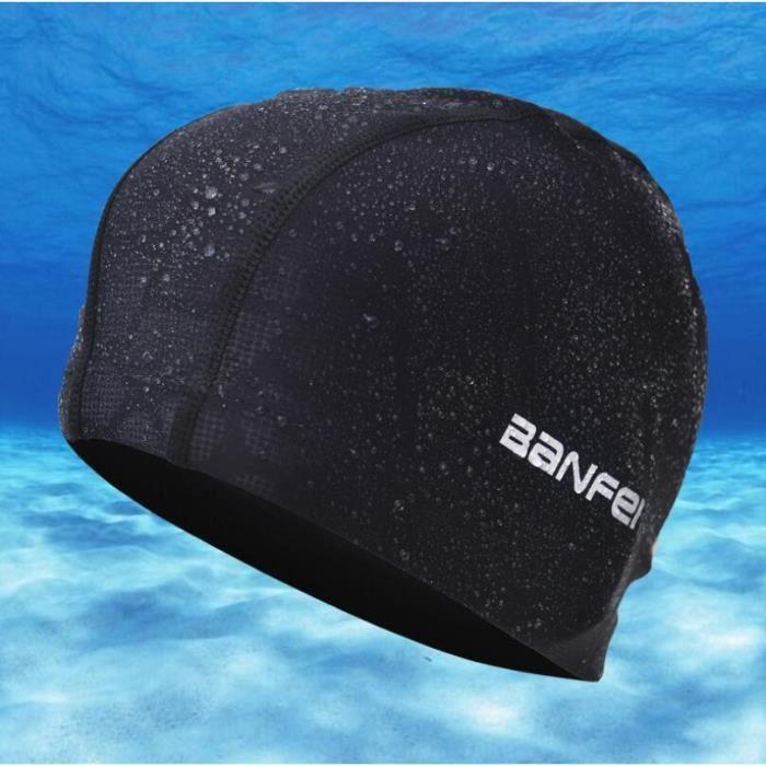 Élastique professionnel Nylon bonnet de natation étanche oreille Protection adulte homm - Modèle: O015 Black One size - TEYYMA12112