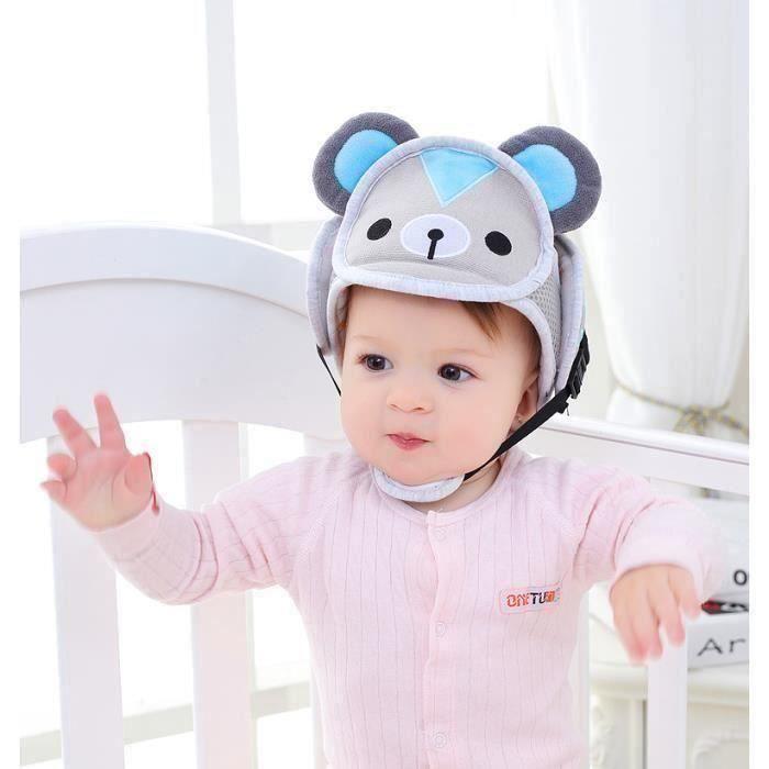 Casque Sécurité Bébé Casque de Protection Bébé Domestique en Coton Douce Réglable Antichoc- (taille 42-62cm)-Ours