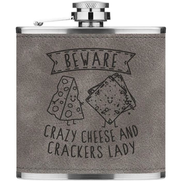 Attention Crazy Fromage Et Pétards Lady 170ml Cuir PU Hip Flasque Gris Luxe