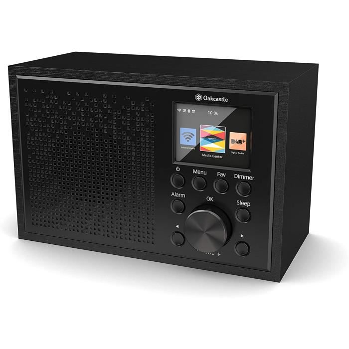Oakcastle Radio Internet Wifi, Spotify Connect, Bluetooth, Double alarme, LINE IN, Contrôle de l'application, Écran couleur (Noir)
