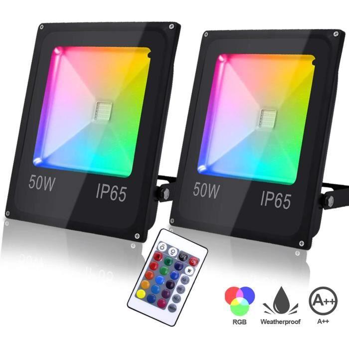 VINGO Lot de 2 Projecteurs LED Couleur 50W IP65 Etanche Spot Lampe RGB Multicolore Réglable 16 Couleurs 4 Modes Lampe Décoration Po
