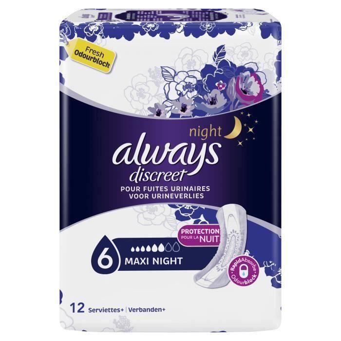 [LOT DE 2] ALWAYS 24 Serviettes pour Fuites urinaire Night x12