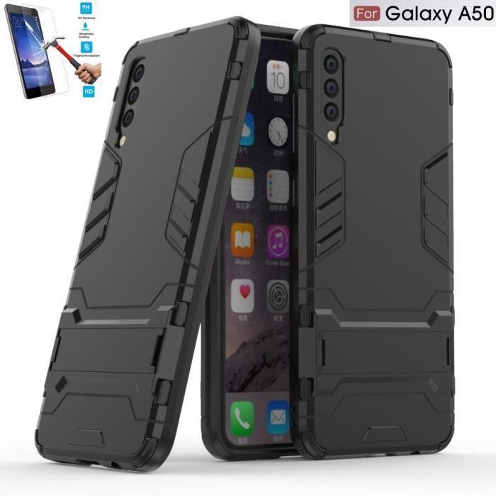 Samsung Galaxy A50 Anti Choc Noir + Film Verre Trempé Coque Housse Etui Antichoc hfs-house®