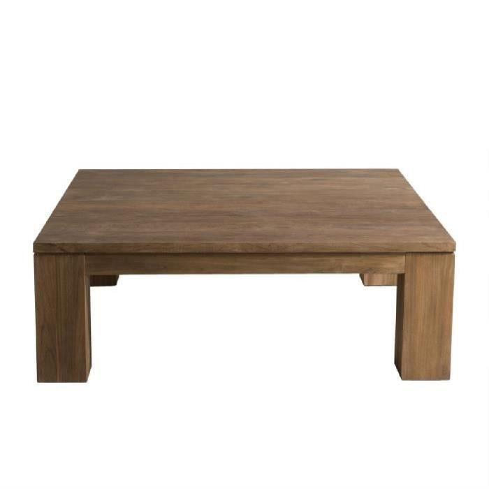 Table basse carrée style industriel en bois teck - L 100 x l 100 cm