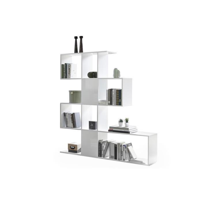 Miliboo - Bibliothèque/séparateur design blanc laqué brillant H147 cm COMO