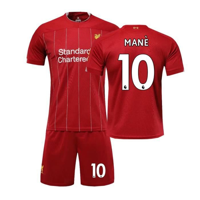 Premier League Liverpool NO.10 MANE Jersey Maillots Foot et Shorts de Football Enfant-Rouge