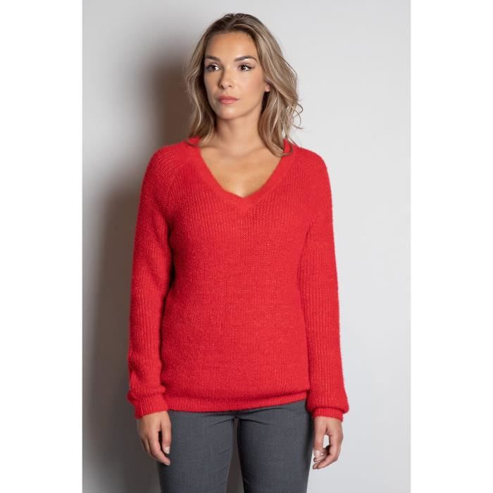 DEELUXE Pull brillant col V ARMELLE Red Lurex