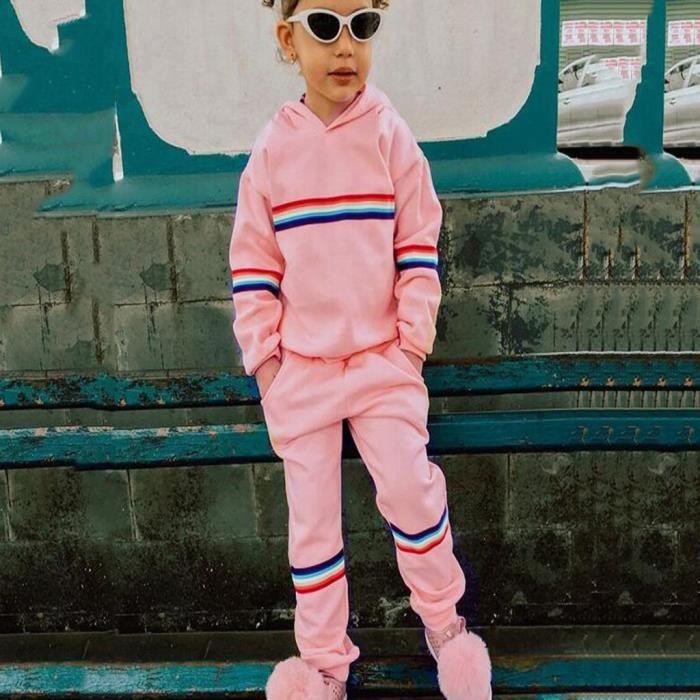 Infantile bébé enfants filles arc-en-ciel rayé hauts imprimés pantalons de survêtement tenues 100