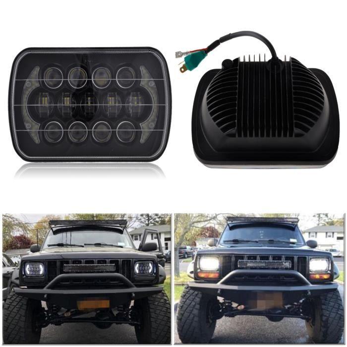 NEUFU 2x Noir 5Pouce X 7Pouce LED Remplacement de Phare Pour Jeep Cherokee XJ Trucks IP67 85W