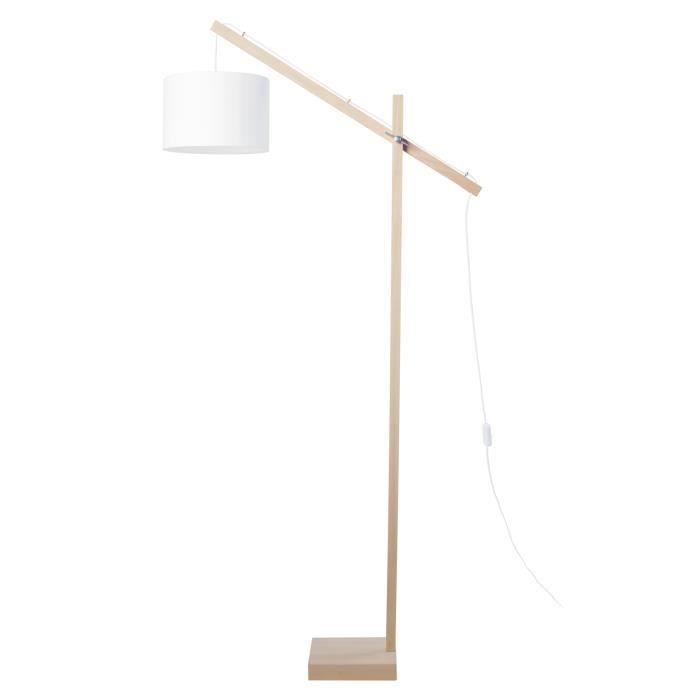 PILORI Abat-jour Cylindrique - Tissu blanc - 25 x 25 x H16 cm