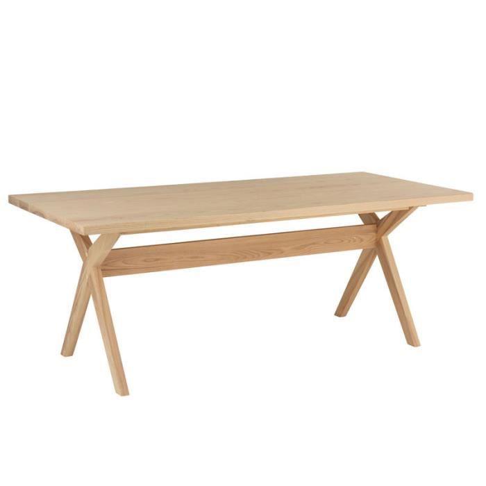 Table de repas rectangulaire Bois naturel - ZAMOSC - L 200 x l 90 x H 75