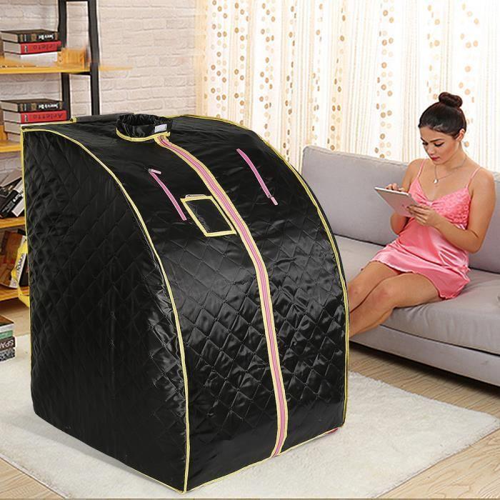 Id/éal pour la D/ésintoxication et la Perte de Poids 70 cm x 80 cm x 98cm Noir Sauna Infrarouge et Portable Spa /à Domicile pour une Personne