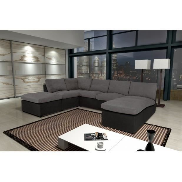 canap avanti gris noir 8 places modulable canap sofa. Black Bedroom Furniture Sets. Home Design Ideas