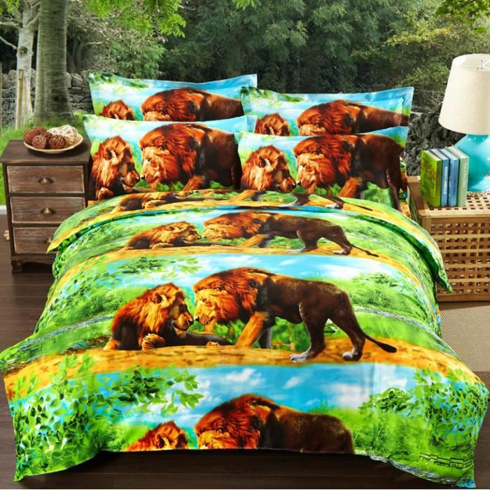 housse de couette bed linen 3d le lion 2 taies 030. Black Bedroom Furniture Sets. Home Design Ideas