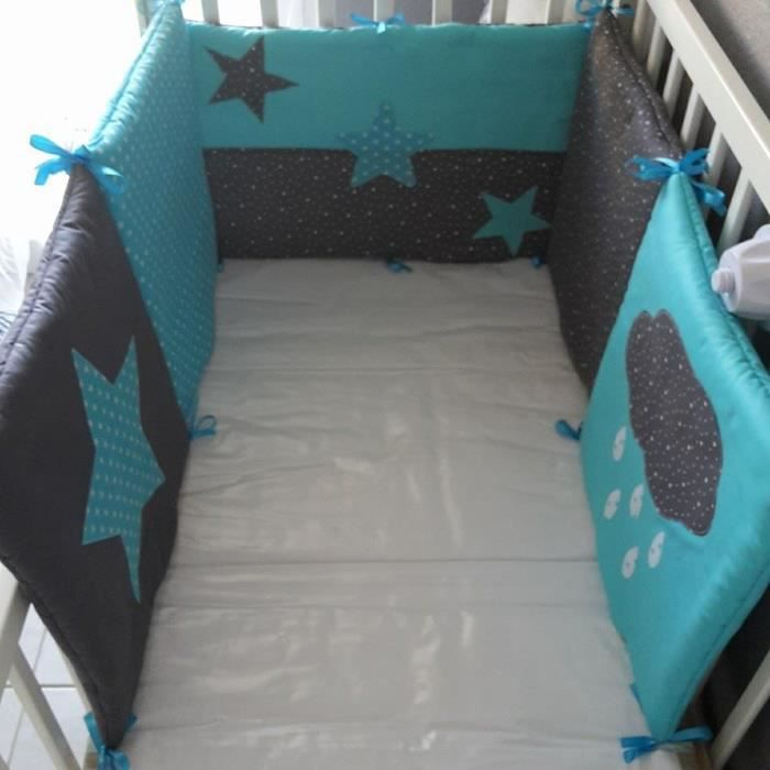 tour de lit bebe theme turquoise gris etoiles achat vente tour de lit b b 2009929562154. Black Bedroom Furniture Sets. Home Design Ideas