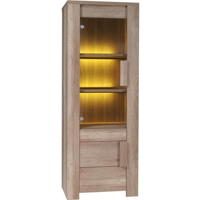 Vitrine petit mod le ferrara led meuble moderne et for Modele meuble salon