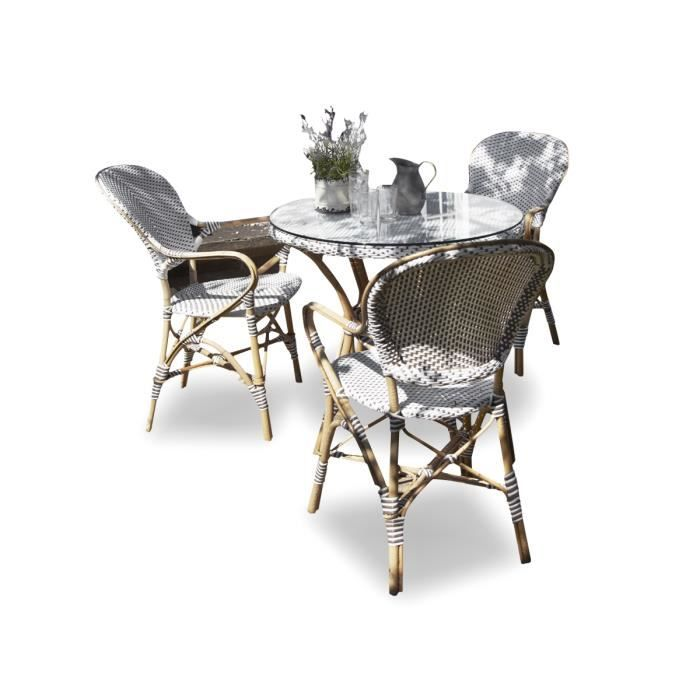salon de jardin en poly rotin 4 chaises achat vente. Black Bedroom Furniture Sets. Home Design Ideas