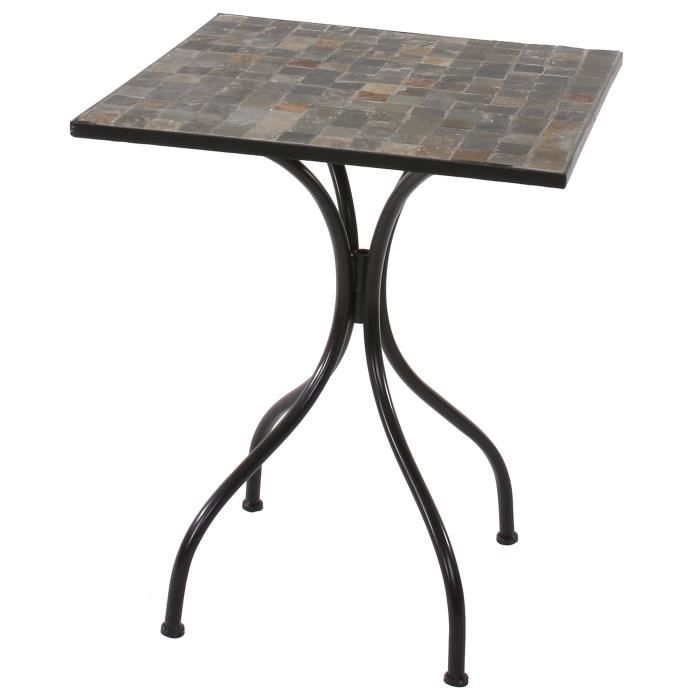 Table mosaique andria t213 table de jardin bistro 60x60cm gris achat vente table de for Achat table de jardin mosaique
