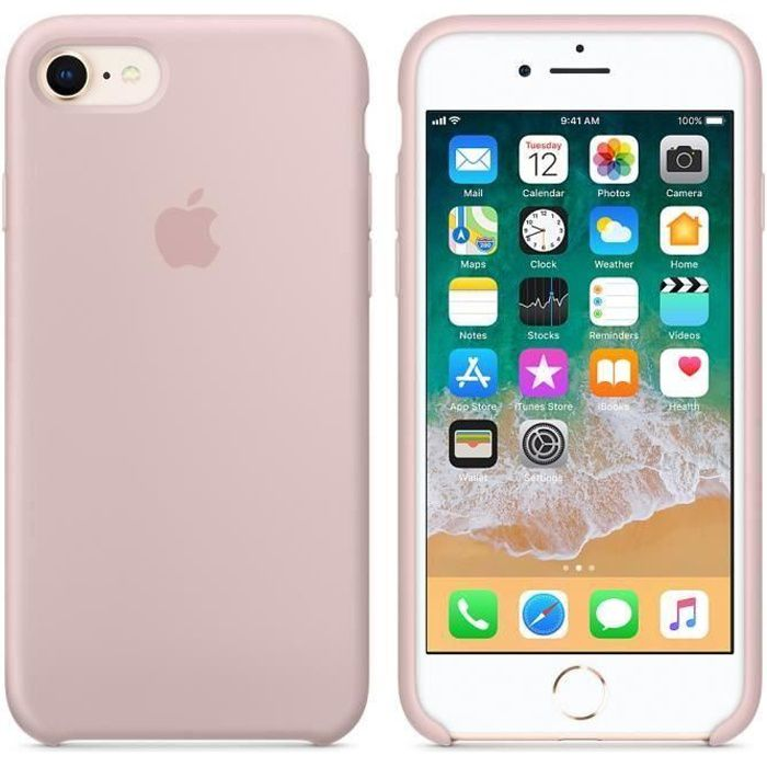 apple coque en silicone iphone 7 8 4 7 rose