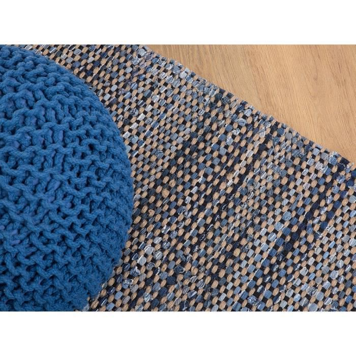 Tapis en coton et jute 80x150 Tapis design rectangulaire Bleu marine