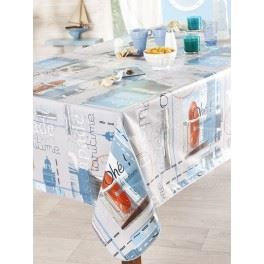 nappe en toile cir e rectangulaire 140x200 cm escapade bleu mer achat vente nappe de. Black Bedroom Furniture Sets. Home Design Ideas