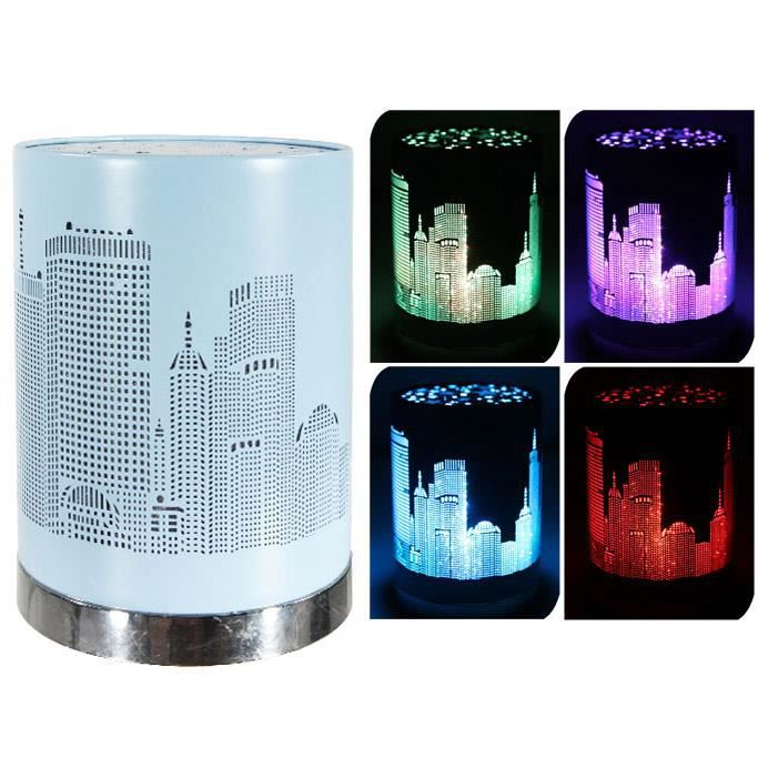 lampe led couleur changeante veilleuse city bleue achat vente lampe a poser lampe led. Black Bedroom Furniture Sets. Home Design Ideas