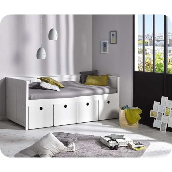 lit enfant fonctionnel avec cubes de rangement 90 200 blanc achat vente lit combine lit. Black Bedroom Furniture Sets. Home Design Ideas