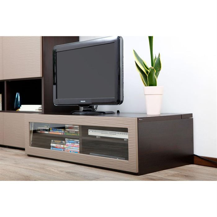 meuble tv design lumineux chocolat et taupe achat vente meuble tv meuble tv design symbiosis. Black Bedroom Furniture Sets. Home Design Ideas