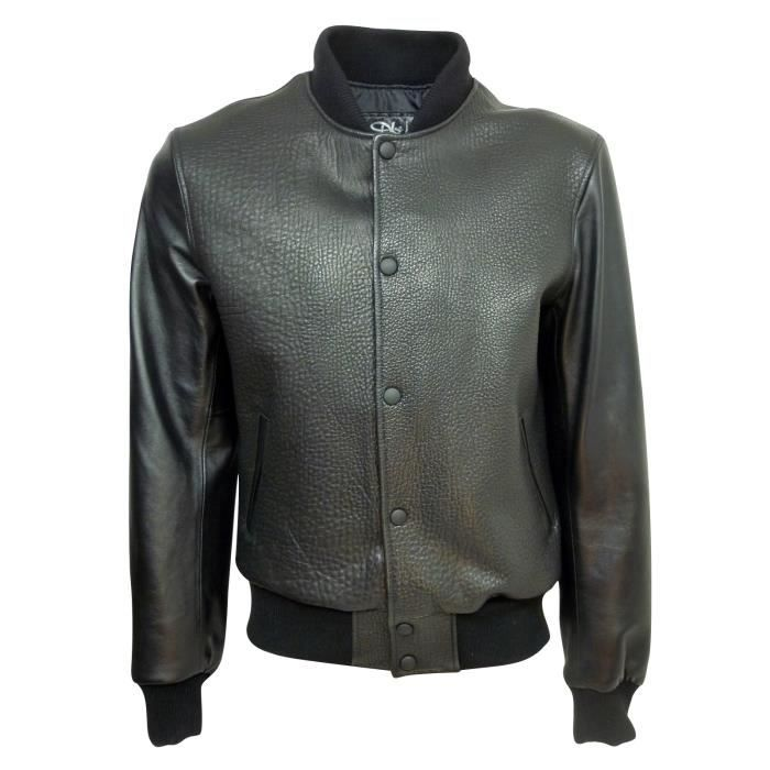 Teddy cuir homme made in france dks tey001 noirnoir noir achat vente blou - Canape cuir made in france ...