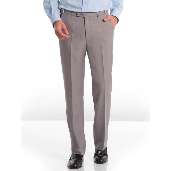 Pantalon en tissu uni extensible, homme Gris