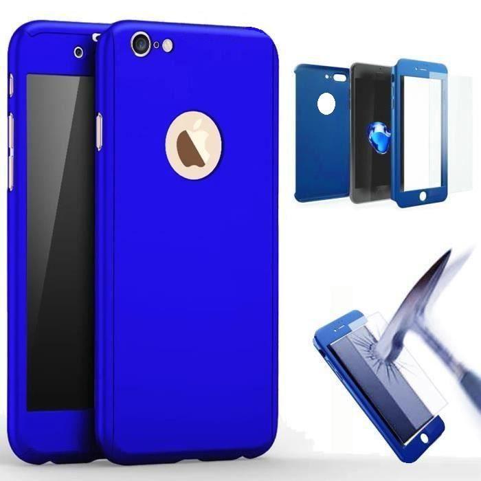 coque integrale iphone 5 5s bleu verre trempe