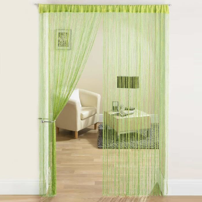 rideau fil paillettes frange spaghetti pour porte fen tre taille 200x100cm vert achat. Black Bedroom Furniture Sets. Home Design Ideas