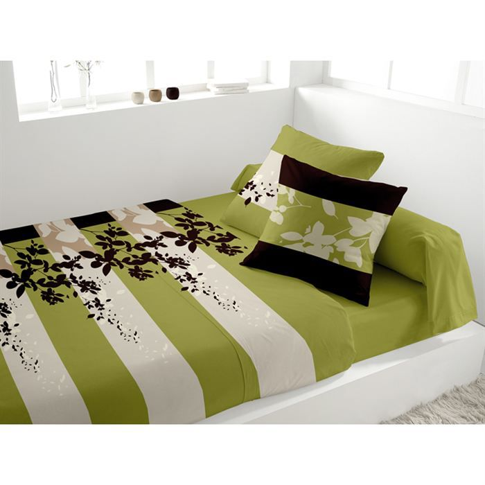 parure de lit 5 pi ces panache vert achat vente parure. Black Bedroom Furniture Sets. Home Design Ideas