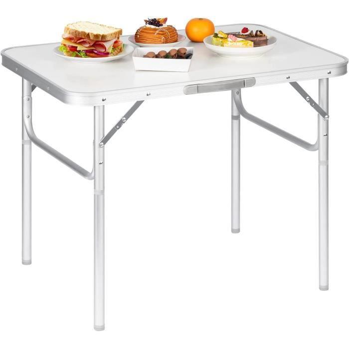 WOLTU Table de camping en Aluminium et MDF,Table de jardin pliable,Table de  pique-nique-Balcon, Hauteur réglable