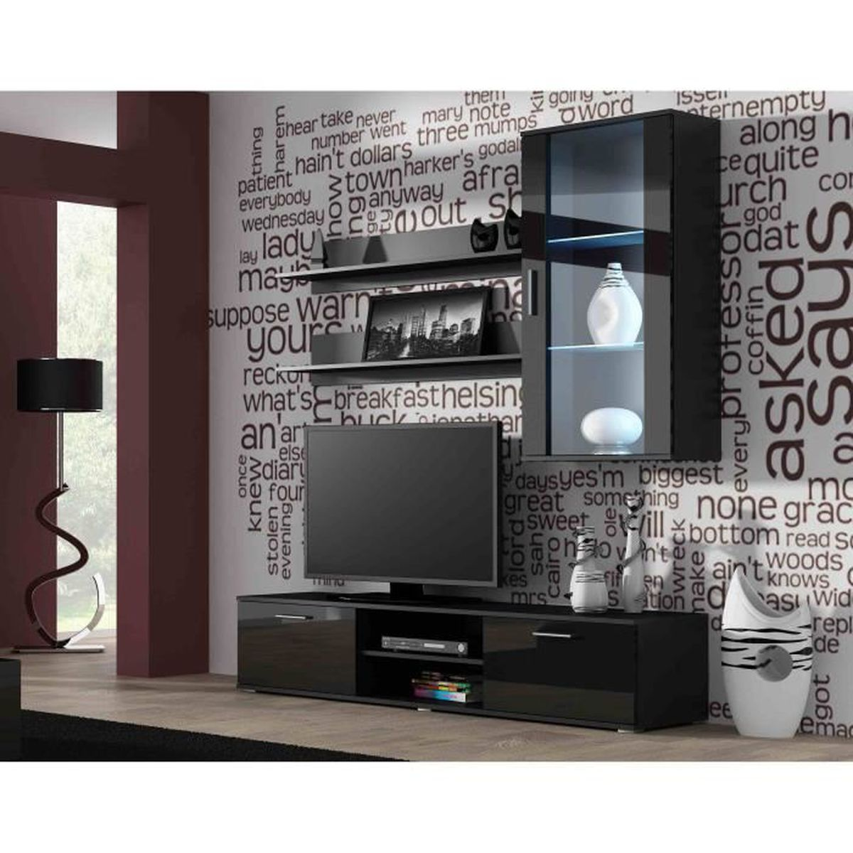 ensemble meuble tv design sano 5 noir achat vente. Black Bedroom Furniture Sets. Home Design Ideas