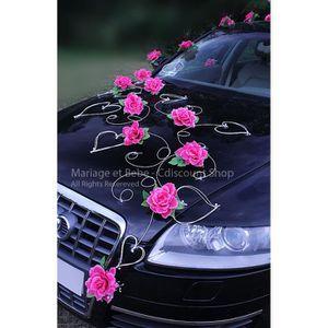 Ensemble D/écoration Mariage Voiture Rose Poupon Ruban 6 M/ètres Noeud 50mm x 3