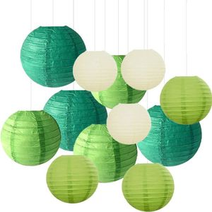 LANTERNE FANTAISIE Sonnis 12 Pièces Lanterne en Papier Vert Lanterne