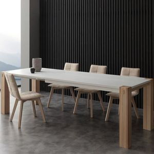 TABLE À MANGER SEULE Table à manger extensible bois et blanc HELIA