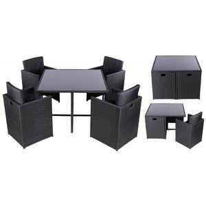 Salon de jardin 5 pieces noir - Achat / Vente ensemble table ...