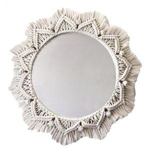 TOOGOO Miroir Mural Suspendu avec Frange en Macram/é 2 Ensemble Petite D/éCoration Ronde Boho Antique Cadre de Miroir pour Salon DAppartement