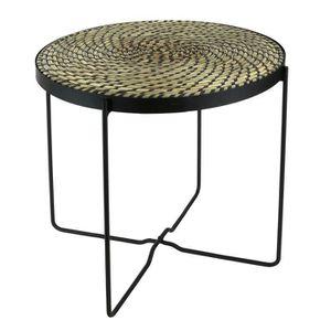 BOUT DE CANAPÉ Table ethnical life Noir - L 43 x P 43 x H 50 cm