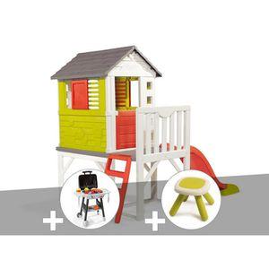 MAISONNETTE EXTÉRIEURE Cabane enfant Pilotis - Smoby + Plancha + Tabouret