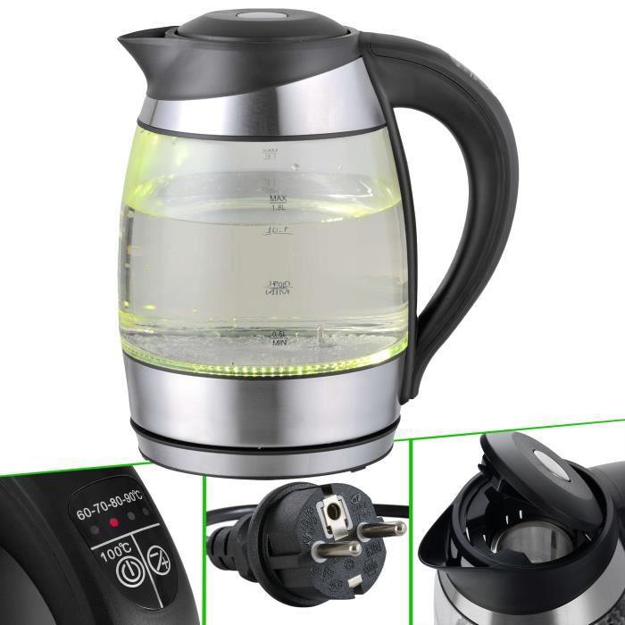 Arebos Bouilloire en Verre et Acier Inoxydable avec LED 1,8 L 2200 W Sans BPA