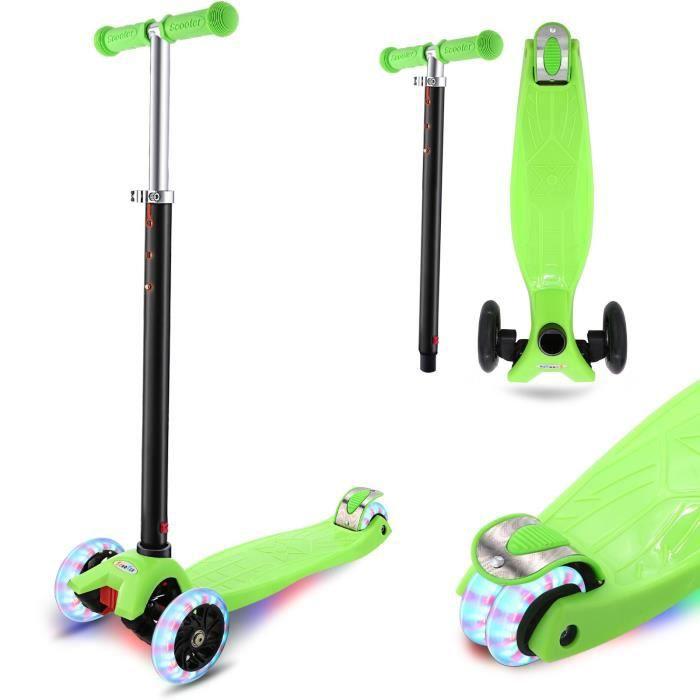 Trottinette Enfant 4 Roues lumieuse ABEC-7 pour Enfants 3-12 Ans Scooter Portable Pliable Poignées Ajustable Jusqu'à 50kg -Vert