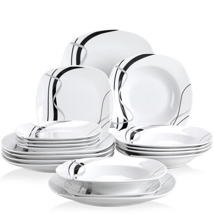 Veweet FIONA 18pcs Assiettes Service de Table Pocelaine Assiettes Plates Assiette Creuse Assiette à Dessert Vaisselles