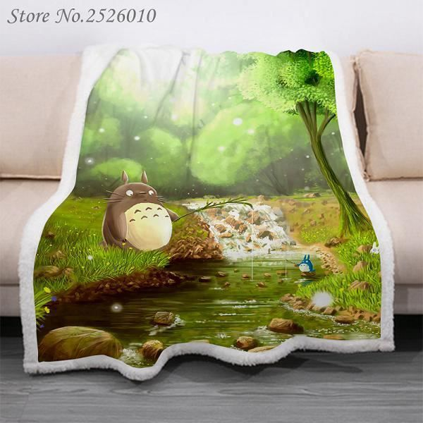 150X200cm,Jeter couverture Anime Totoro 3D velours peluche couverture couvre-lit pour enfants filles Sherpa couverture Model:QYM137